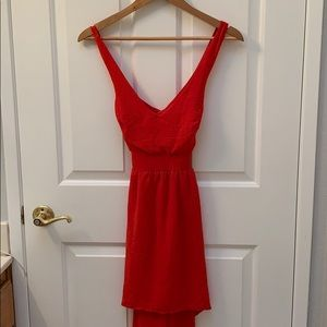 Red Cross back strappy flowy party dress